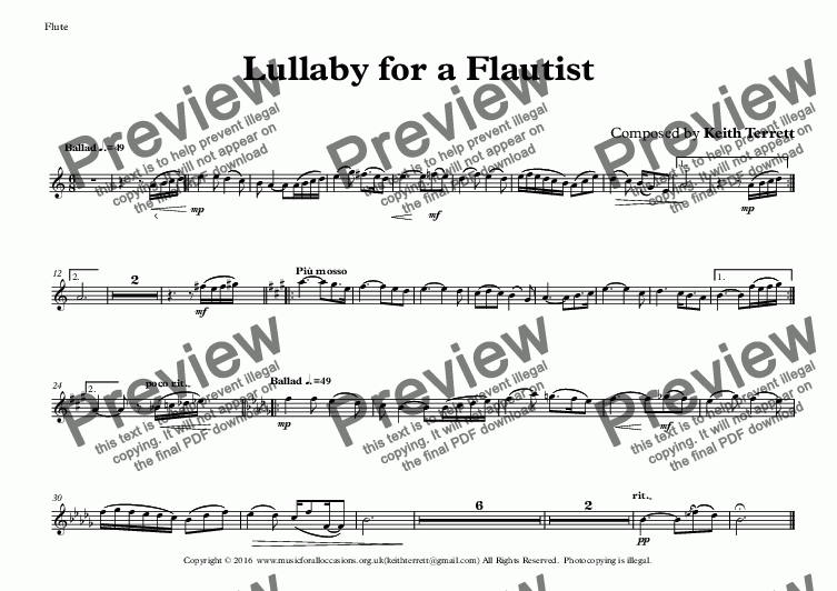page one of the Flute part from Lullaby for a Flautist, Keyboard & Double/E. Bass