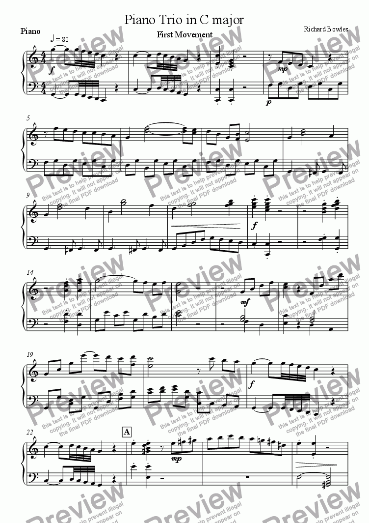 page one of the Piano part from C Major Piano Trio - First Movement