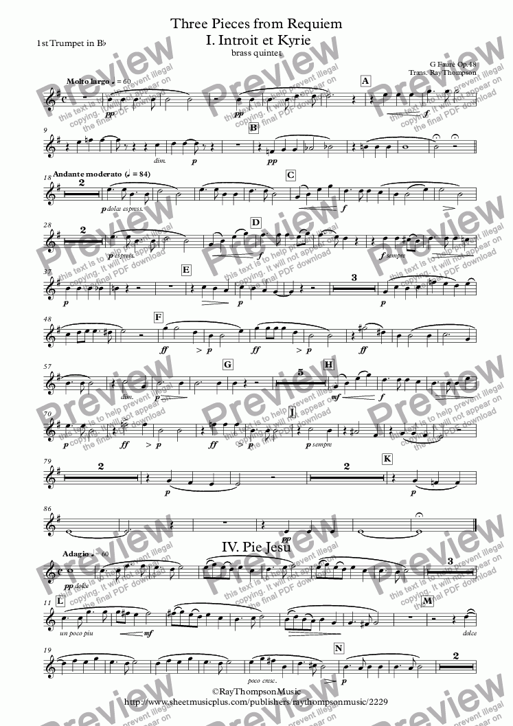 page one of the 1st Trumpet in B^b part from Fauré: Three Pieces from Requiem Op.48: I. Introit et Kyrie IV. Pie Jesu VI.Libera Me - brass quintet