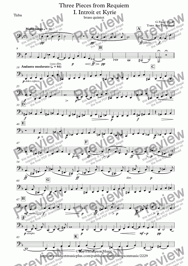 page one of the Tuba part from Fauré: Three Pieces from Requiem Op.48: I. Introit et Kyrie IV. Pie Jesu VI.Libera Me - brass quintet