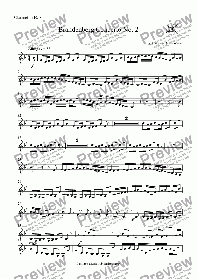 page one of the Clarinet in B^b 3 part from Brandenberg Concerto No. 2