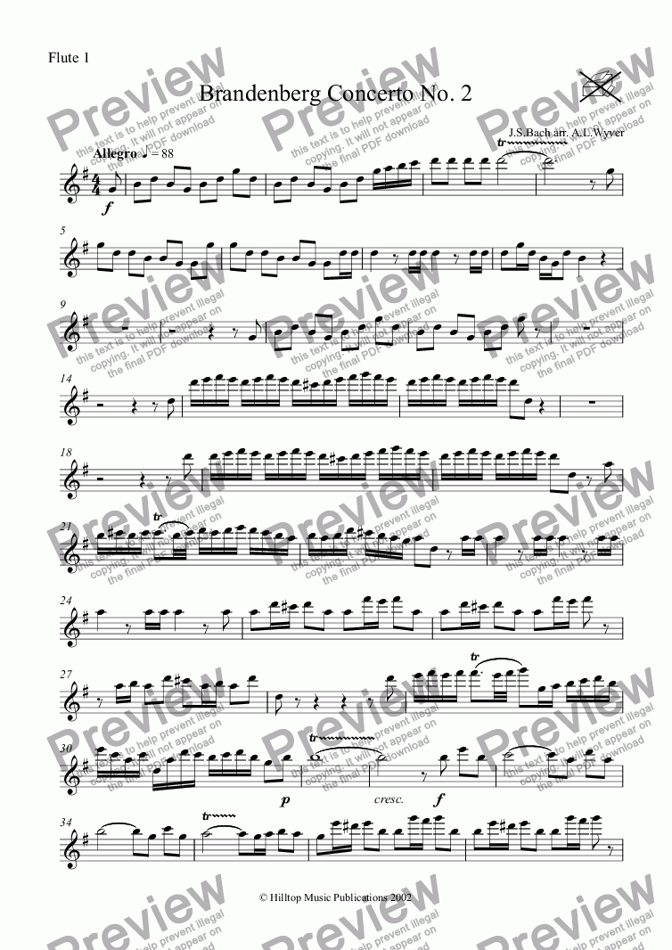 page one of the Flute 1 part from Brandenberg Concerto No. 2 arr. woodwind octet
