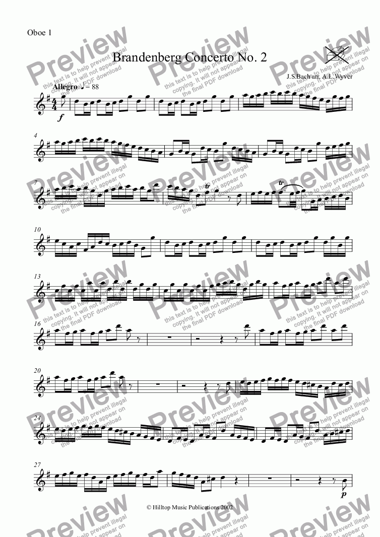 page one of the Oboe 1 part from Brandenberg Concerto No. 2 arr. woodwind octet