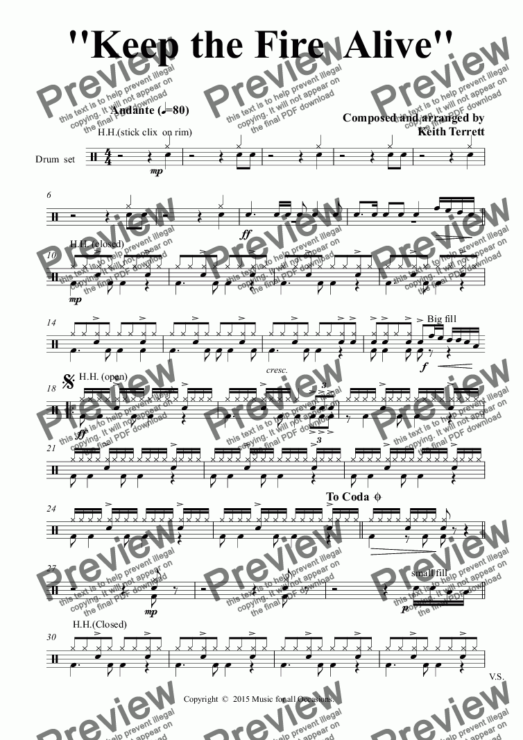 page one of the Drum  set part from Keep the Fire  Alive for solo Eb Alto Saxophone & Concert Band