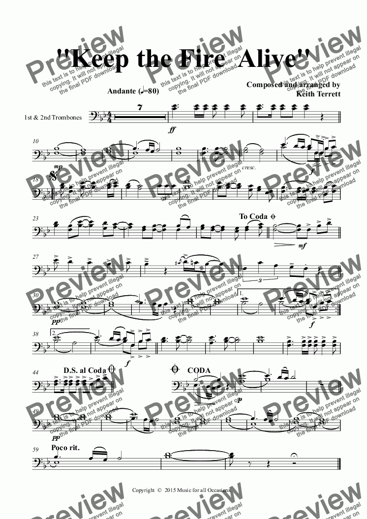 page one of the 1st & 2nd Trombones part from Keep the Fire  Alive for solo Eb Alto Saxophone & Concert Band