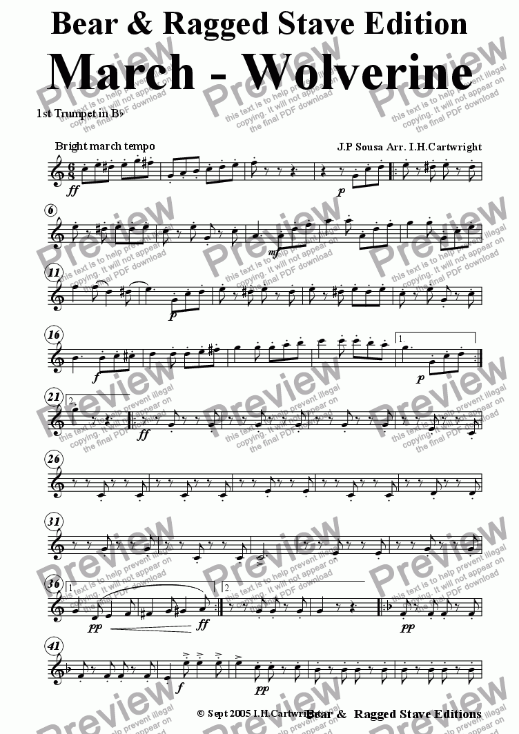 page one of the 1st Bb Trumpet part from The Wolverine March for brass quintet
