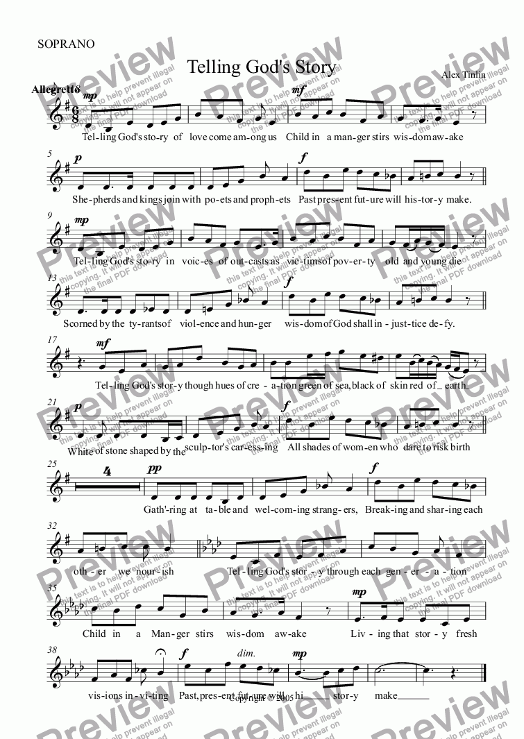 page one of the SOPRANO part from Telling God's Story