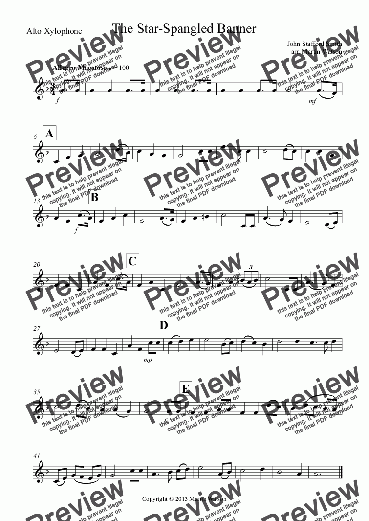page one of the Alto Xylophone part from The Star-Spangled Banner for Orff Ensemble