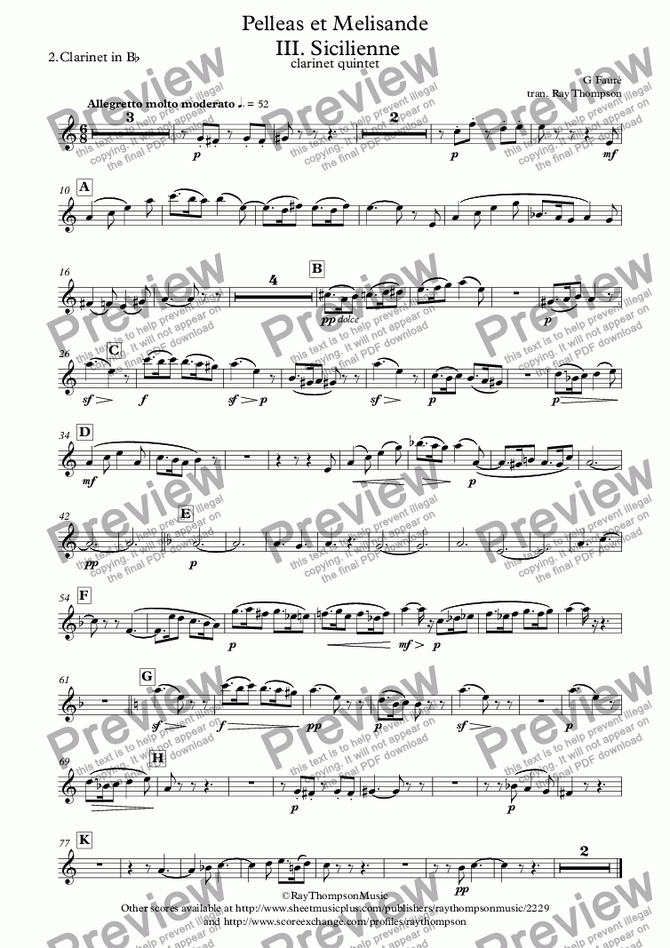 page one of the 2.Clarinet in B^b part from Fauré: Pelleas et Melisande Op.78  III. Sicilienne - clarinet quintet/choir
