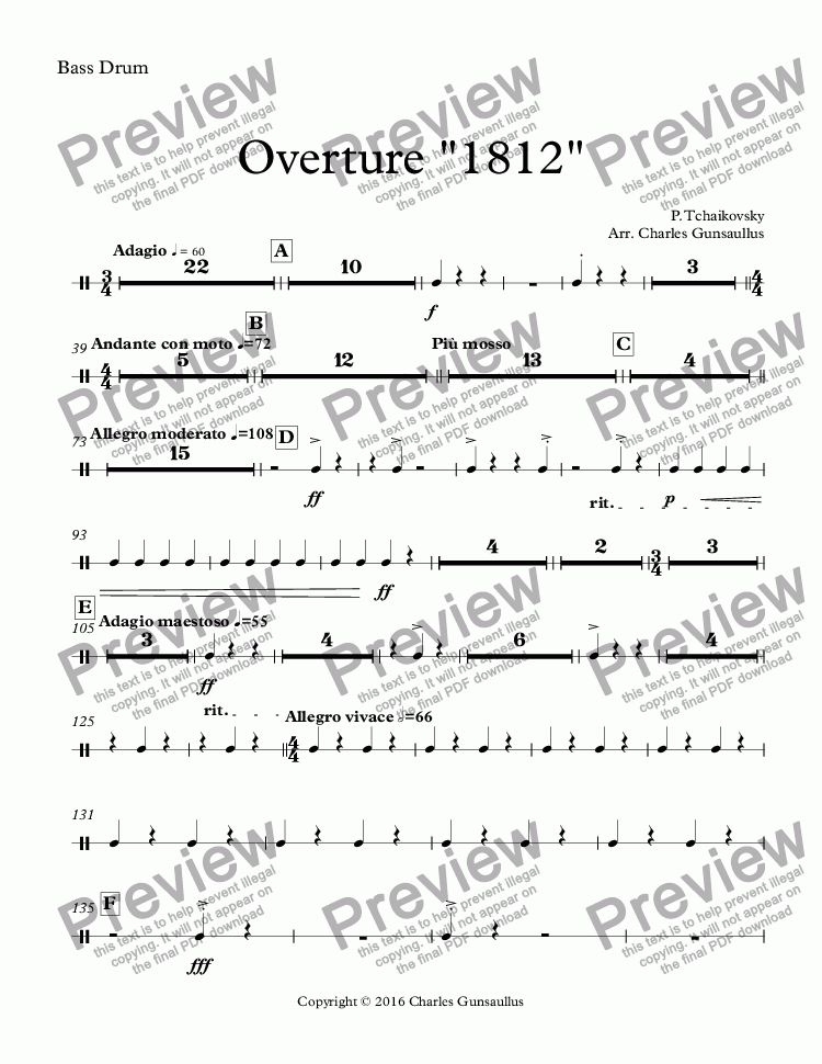 "page one of the Bass Drum part from Overture ""1812"""