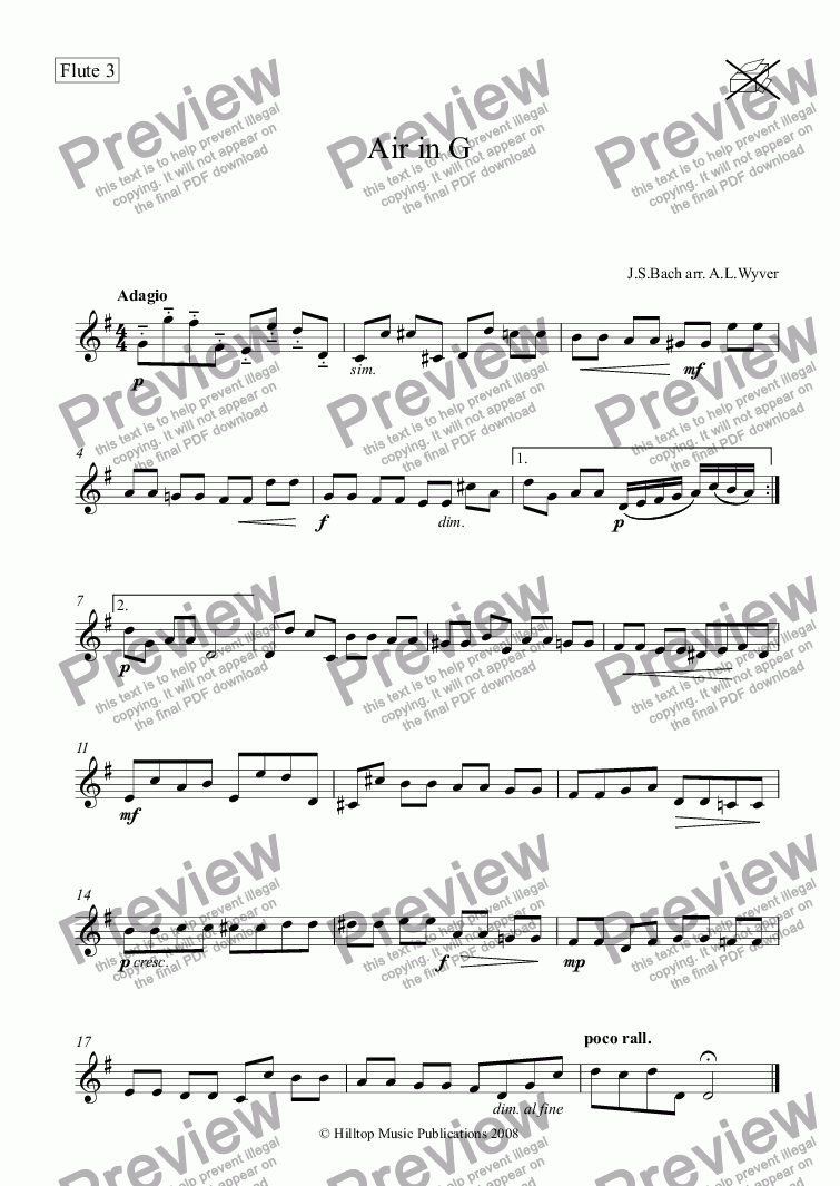 page one of the Flute 3 part from Air from Suite No. 3 in  arr. three flutes