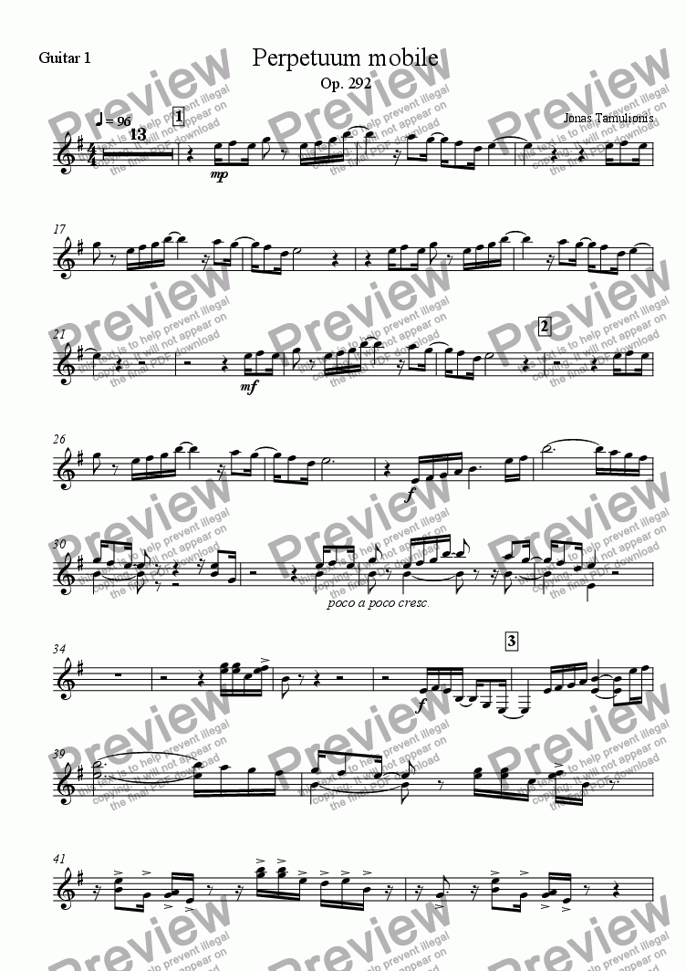 page one of the Guitar 1 part from Perpetuum mobile