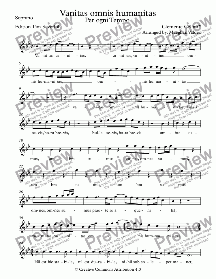 page one of the Soprano part from Vanitas omnis humanitas