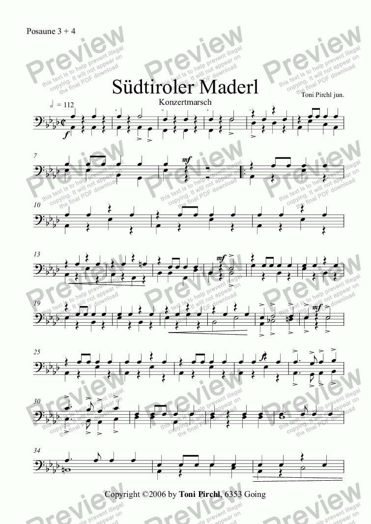 page one of the Posaune 3 + 4 part from Südtiroler Maderl Marsch