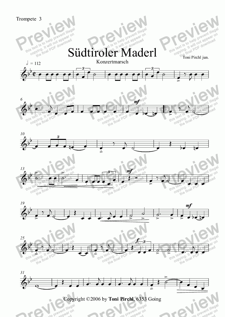 page one of the Trompete  3 part from Südtiroler Maderl Marsch