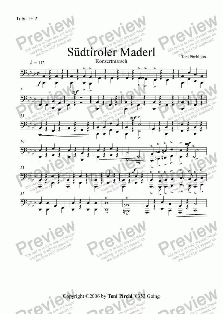 page one of the Tuba 1+ 2 part from Südtiroler Maderl Marsch