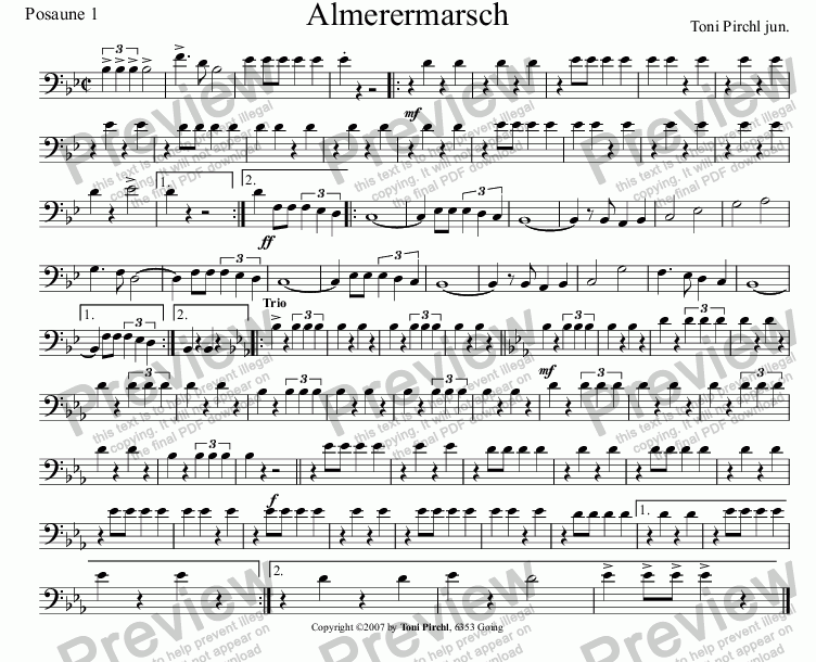 page one of the Posaune 1 part from Almerer Marsch