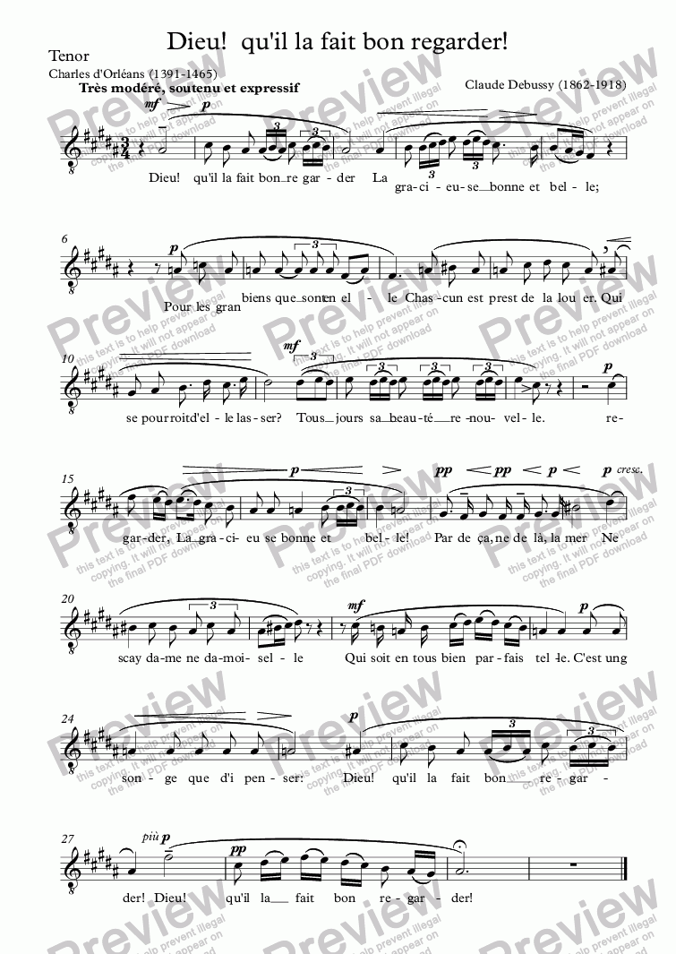 page one of the Tenor part from Dieu!  qu'il la fait bon regarder (Claude Debussy / Charles d'Orléans)