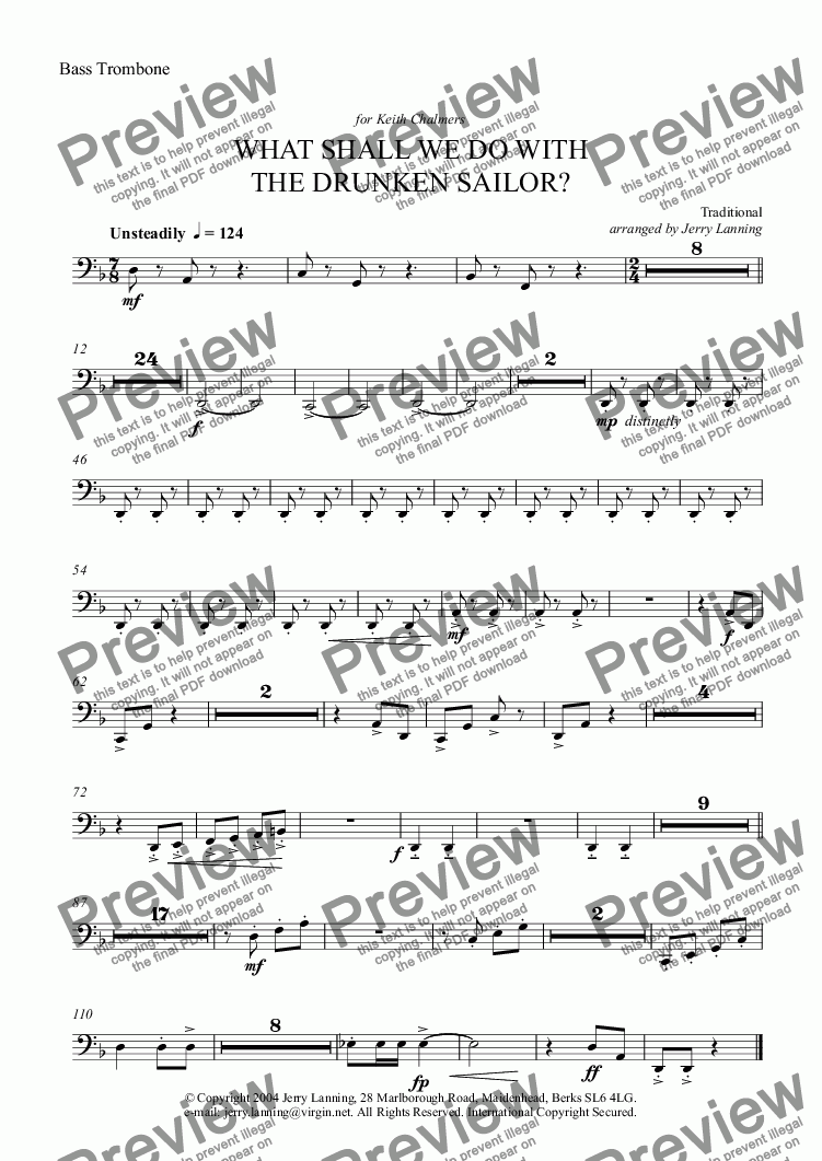 page one of the Bass Trombone part from What Shall We Do With The Drunken Sailor? (Brass Band)
