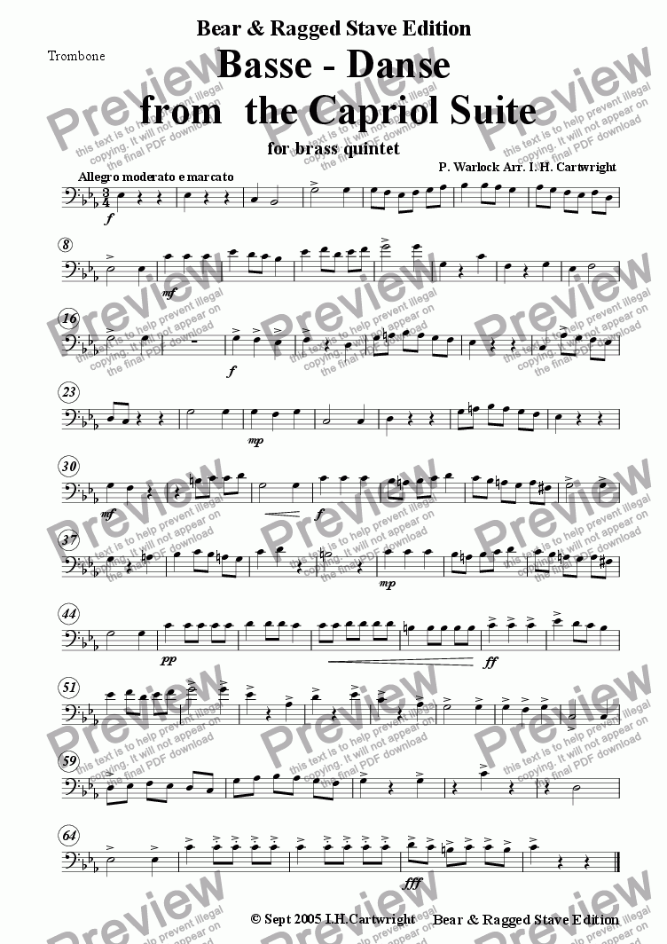 page one of the Trombone part from Basse - danse from Capriol Suite for brass quintet