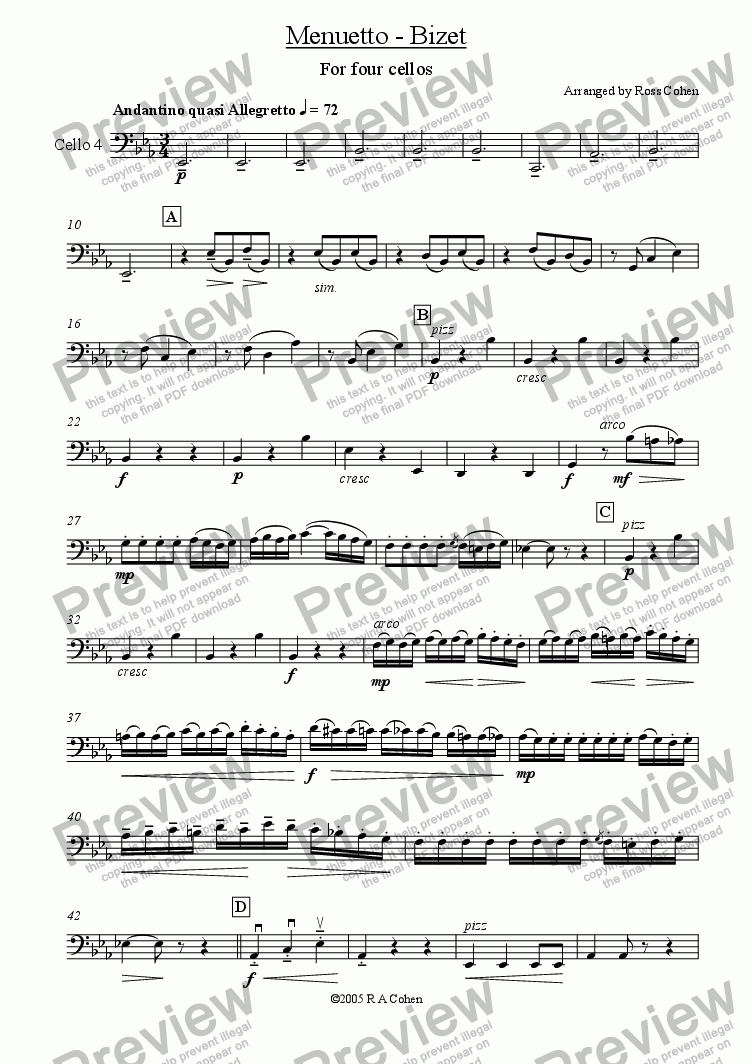 page one of the cello 4 part from Bizet - MENUETTO - for cello quartet