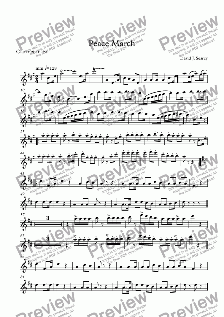 page one of the Clarinet in E^b part from Peace March