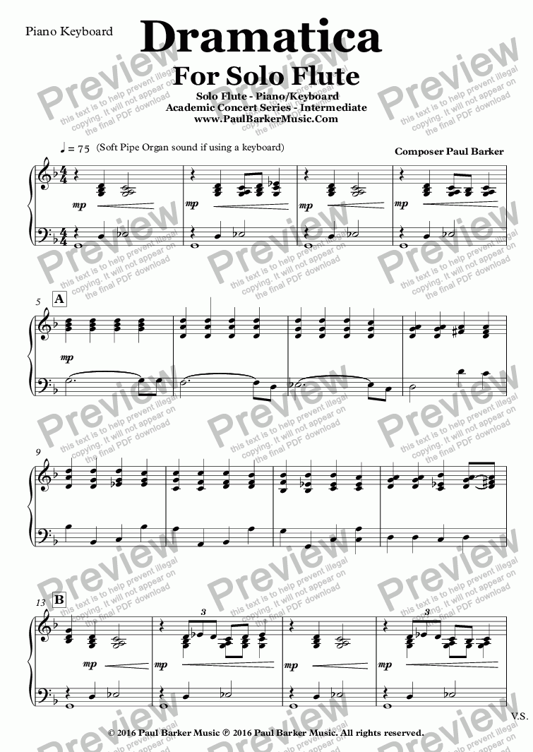 page one of the Piano Keyboard part from Dramatica For Solo Flute and Piano/Keyboard