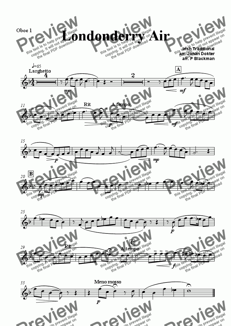page one of the oboe 1 part from Londonderry Air