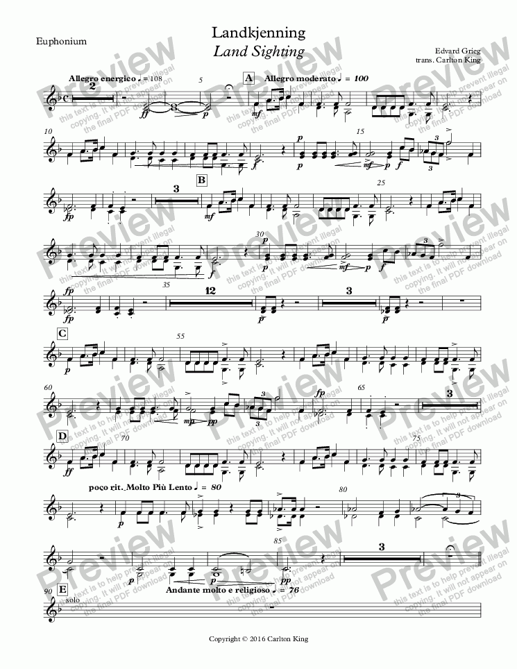 page one of the Euphonium part from Landkjenning - Land Sighting