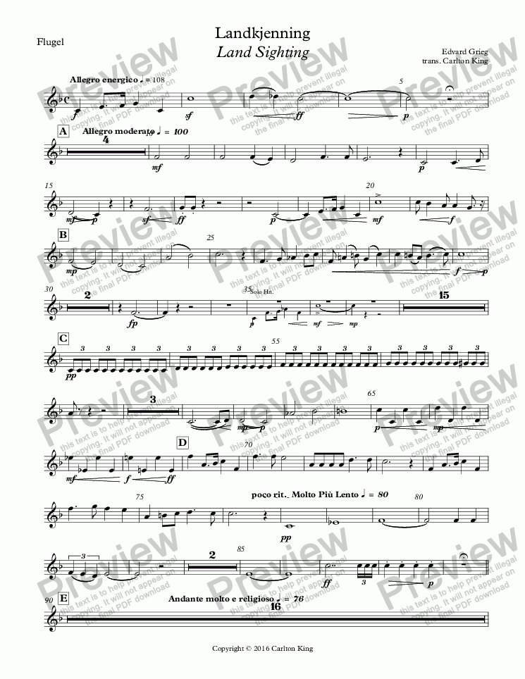 page one of the Flugel part from Landkjenning - Land Sighting