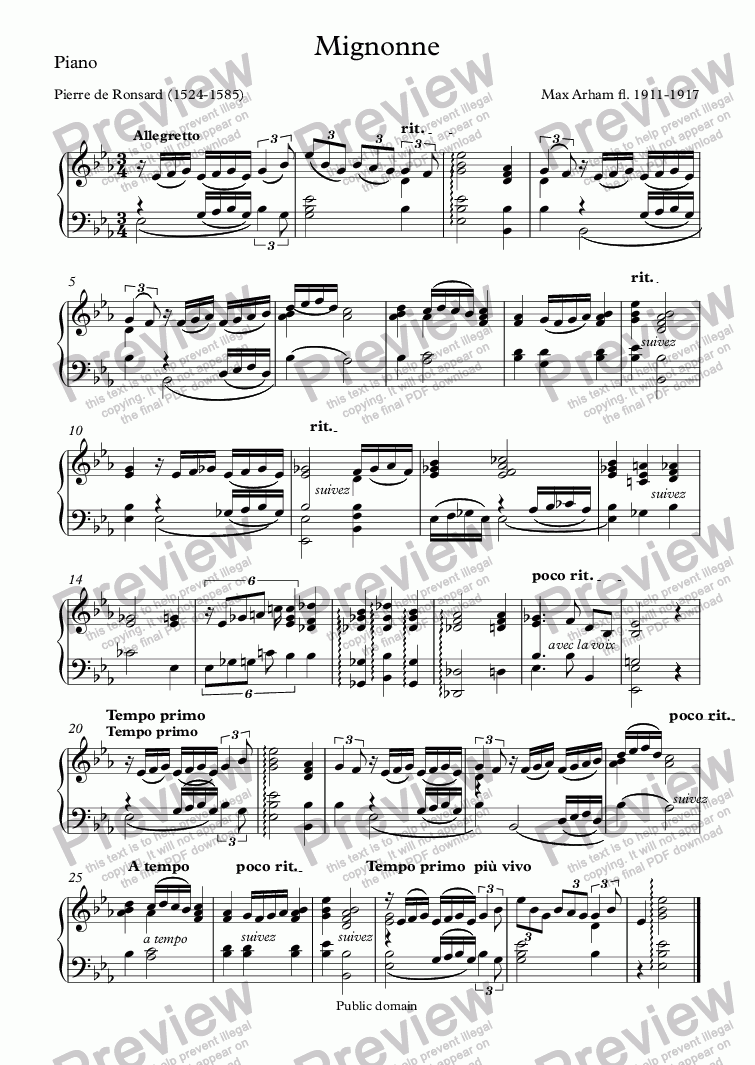 page one of the Piano part from Mignonne (Max Arham / Ronsard)
