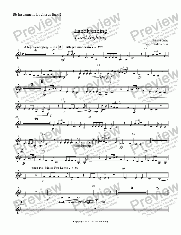 page one of the Bb Instrument for chorus Bass 2 part from Landkjenning - Land Sighting