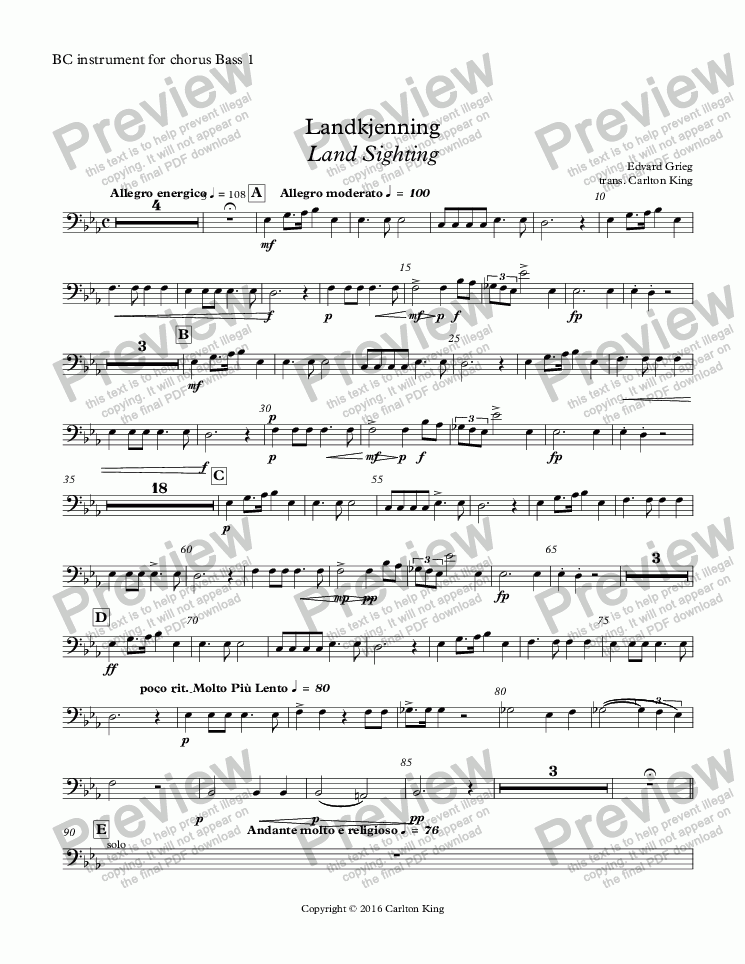 page one of the BC instrument for chorus Bass 1 part from Landkjenning - Land Sighting