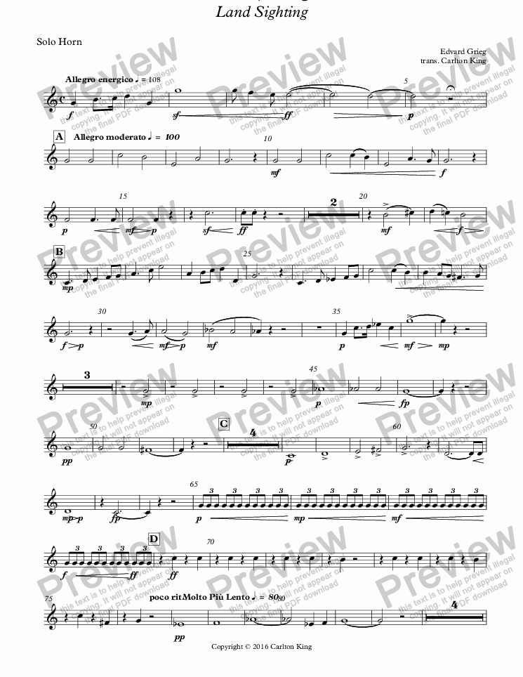 page one of the Solo Horn part from Landkjenning - Land Sighting (instrumental)