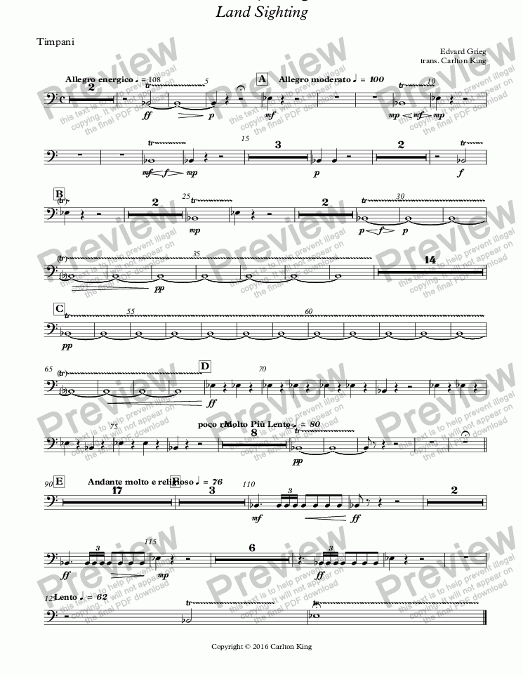 page one of the Timpani part from Landkjenning - Land Sighting (instrumental)