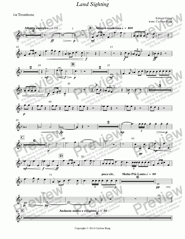 page one of the 1st Trombone part from Landkjenning - Land Sighting (instrumental)