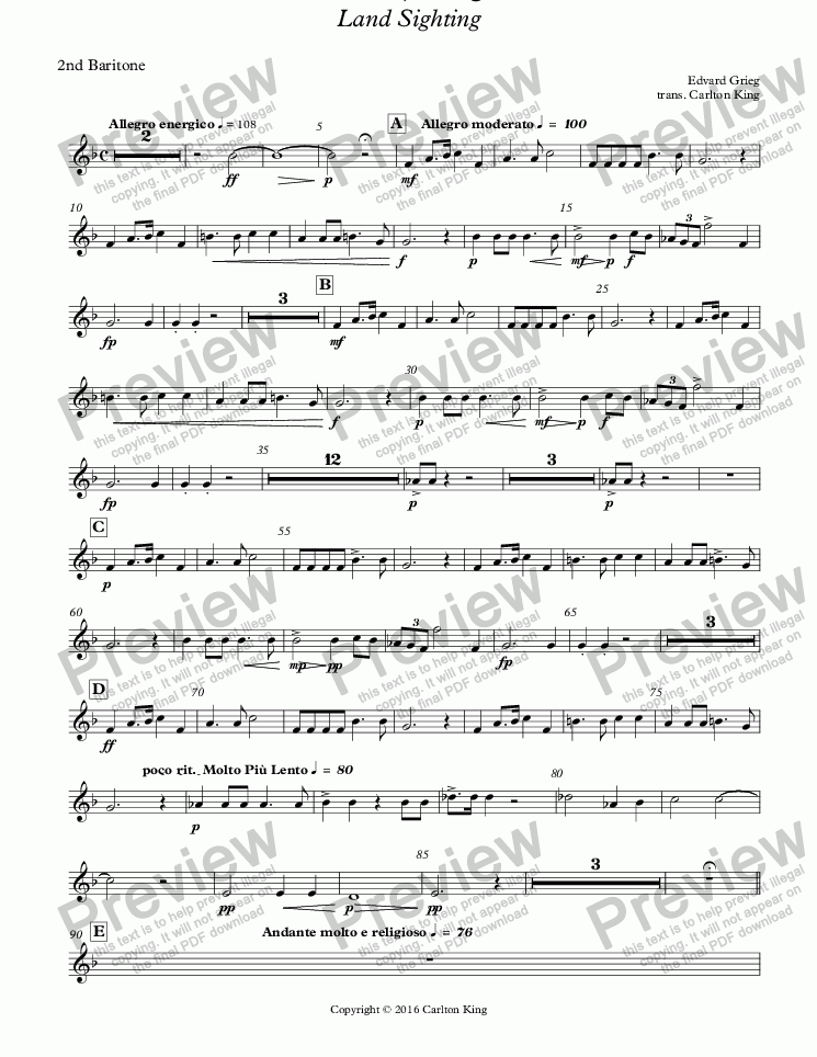 page one of the 2nd Baritone part from Landkjenning - Land Sighting (instrumental)