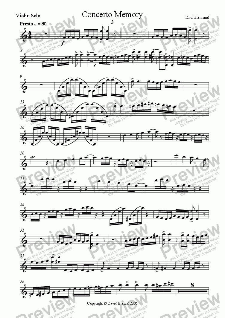 page one of the Violin Solo part from Concerto Memory - Finale
