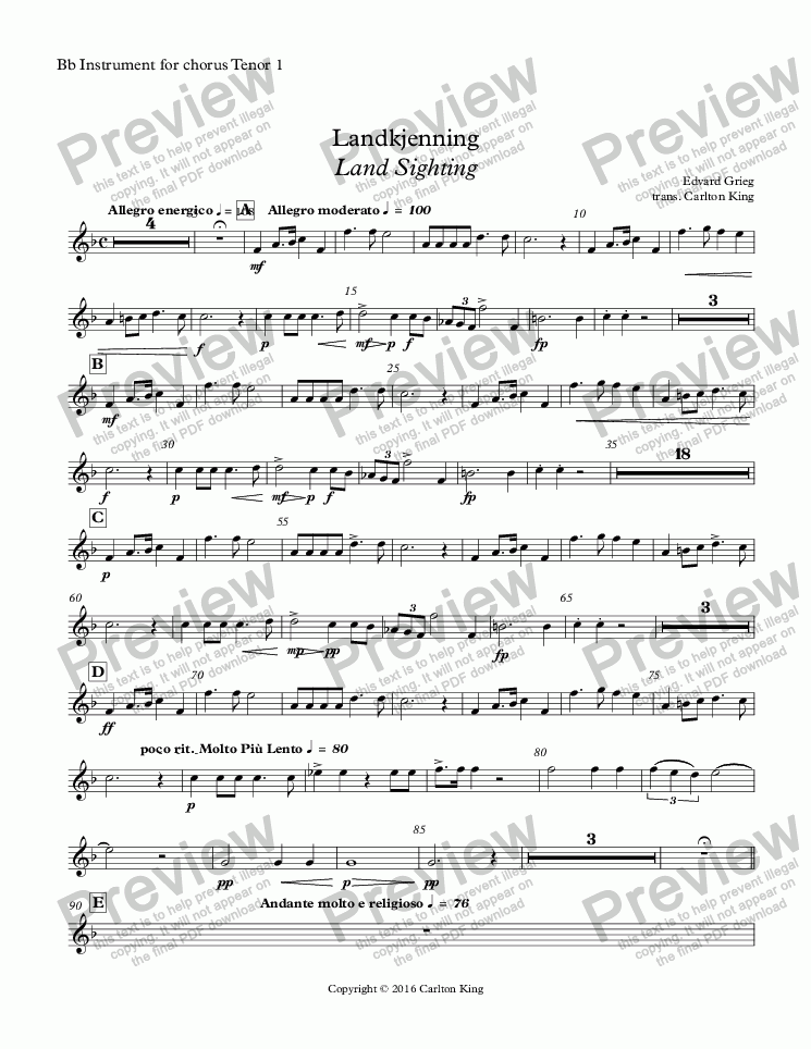 page one of the Bb Instrument for chorus Tenor 1 part from Landkjenning - Land Sighting (instrumental)