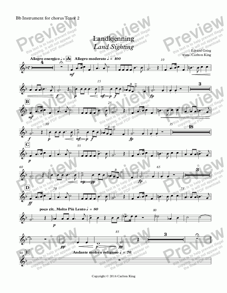 page one of the Bb Instrument for chorus Tenor 2 part from Landkjenning - Land Sighting (instrumental)