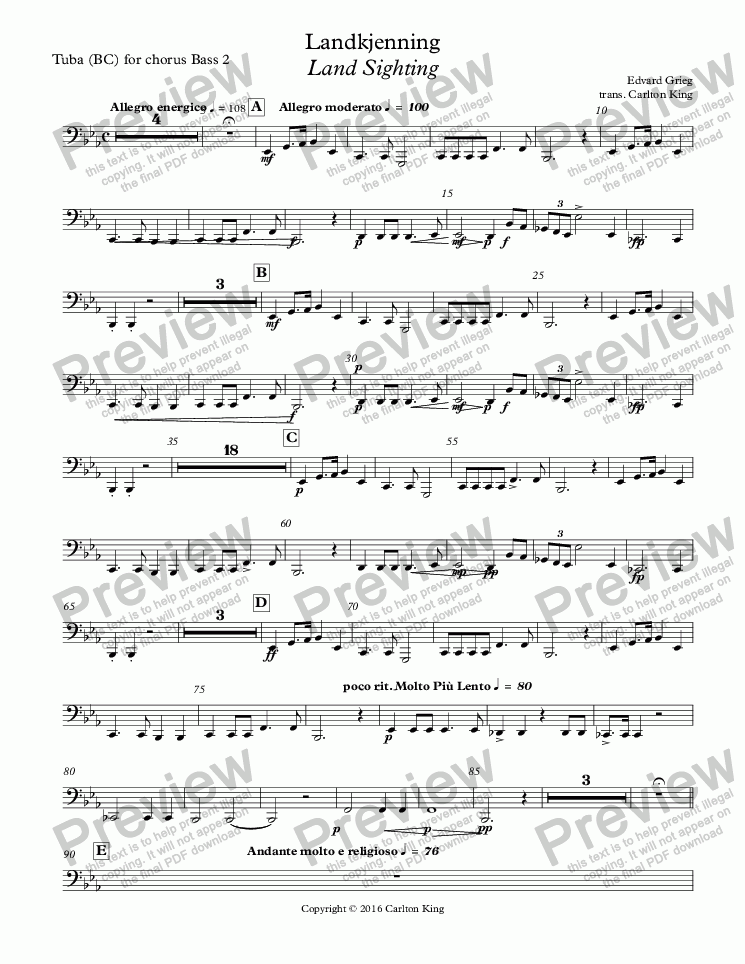 page one of the Tuba (BC) for chorus Bass 2 part from Landkjenning - Land Sighting (instrumental)