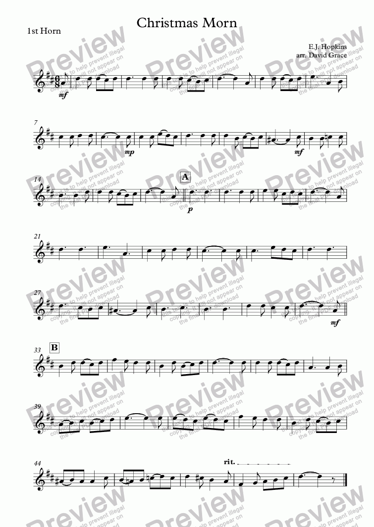 page one of the 1st Horn part from Christmas Morn