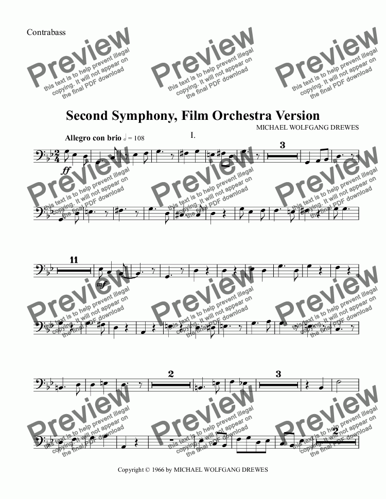 page one of the Contrabass part from Symphony No. 2, Complete Score (Film Orchestra Version)