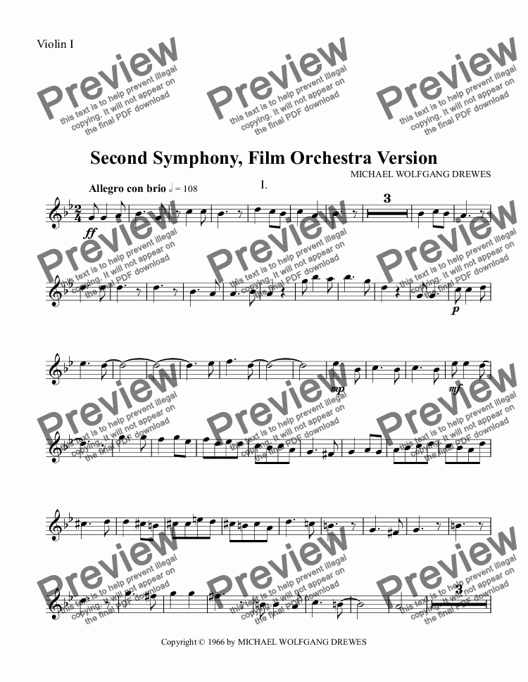 page one of the Violin I part from Symphony No. 2, Complete Score (Film Orchestra Version)