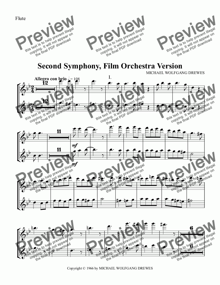page one of the Flute part from Symphony No. 2, Complete Score (Film Orchestra Version)