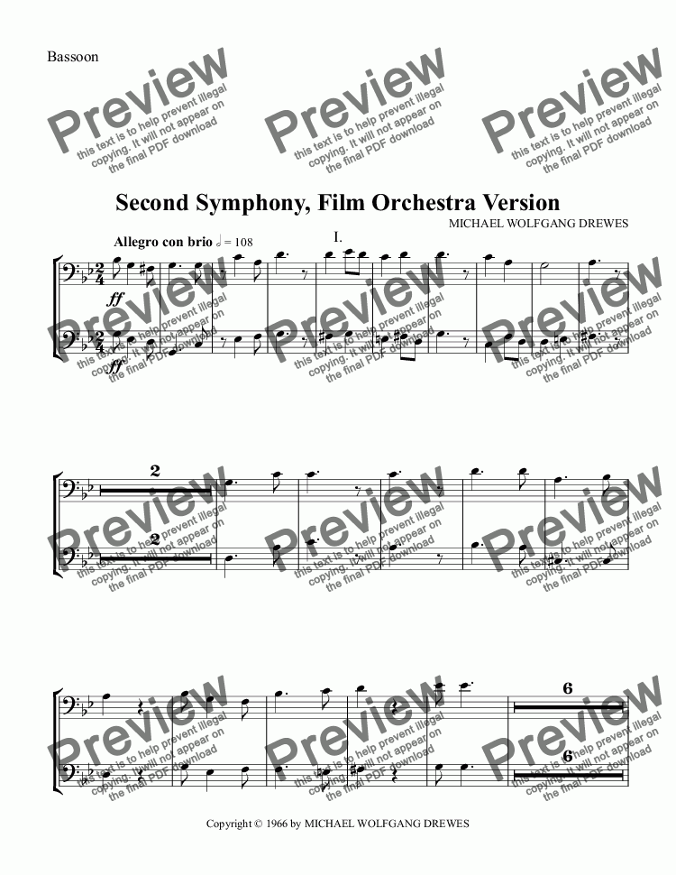 page one of the Bassoon part from Symphony No. 2, Complete Score (Film Orchestra Version)