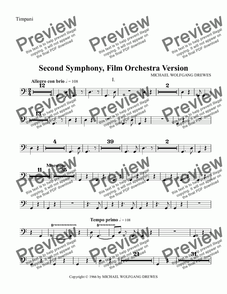page one of the Timpani part from Symphony No. 2, Complete Score (Film Orchestra Version)