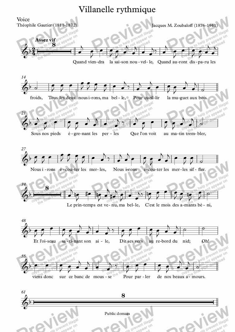 page one of the Voice part from Villanelle rythmique (Zoubaloff / Th. Gautier)