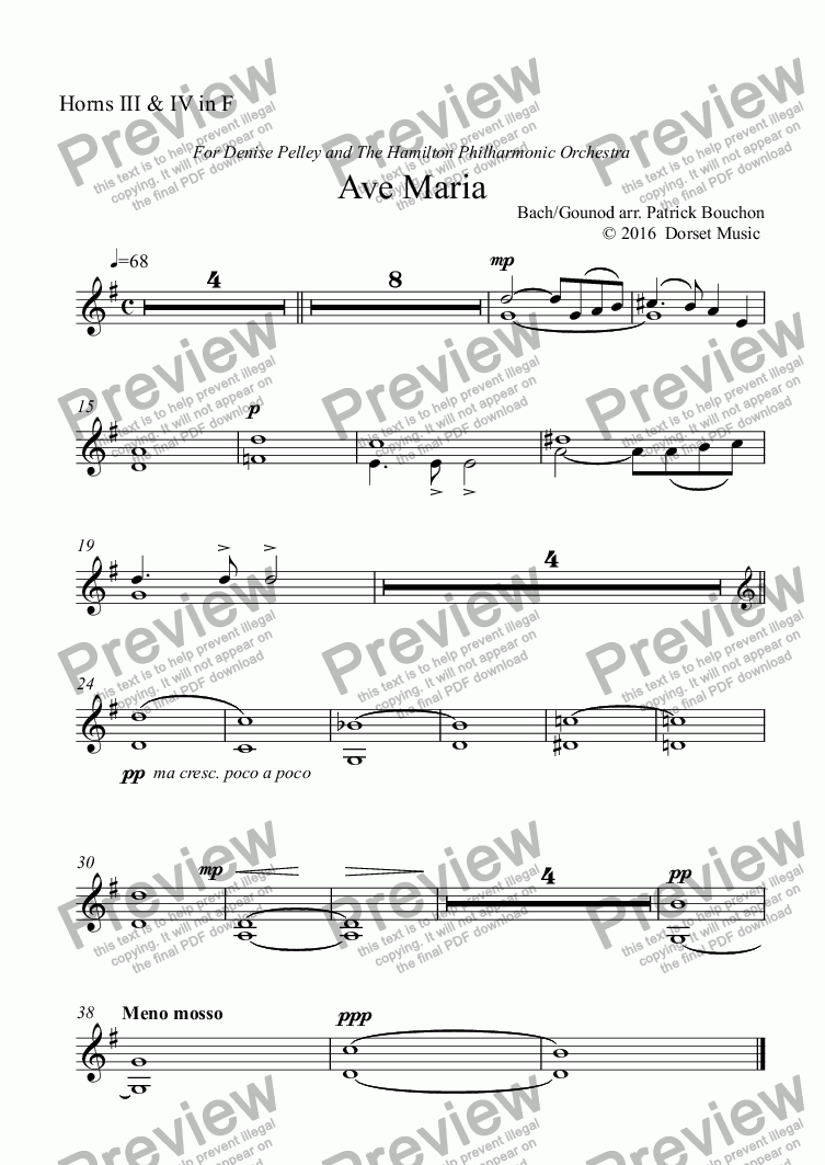 page one of the Horns III & IV in F part from Ave Maria (Bach/Gounod) for Contralto and Orchestra
