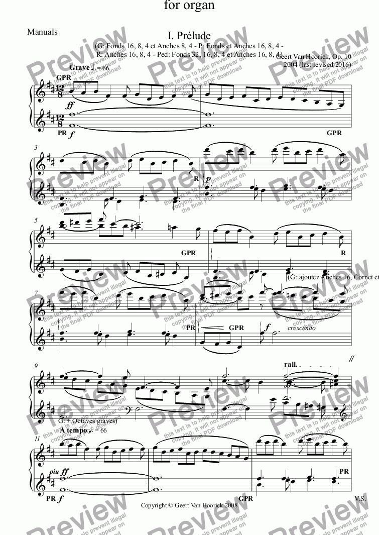 page one of the Manuals part from Symphony No. 1 in B minor for organ, Op. 10 - I. Prélude